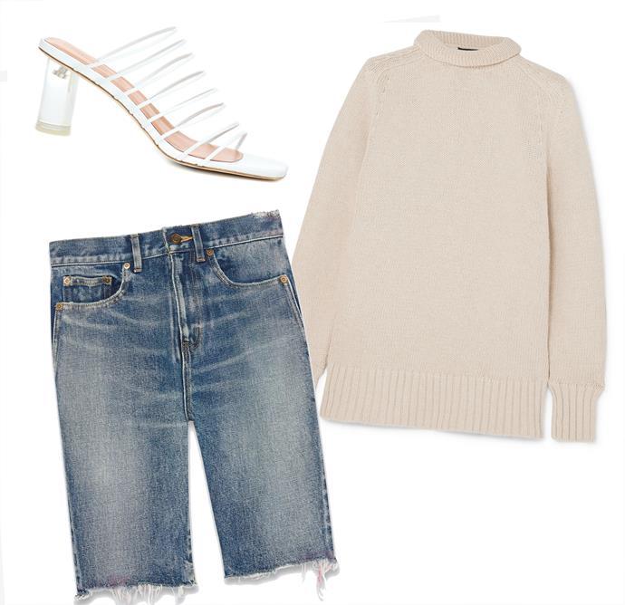 "Shorts, $975 at [Saint Laurent](https://www.ysl.com/au/shop-product/men/ready-to-wear-denim-pants-raw-edge-bermuda-shorts-in-miami-blue-spray-denim_cod13260652sa.html|target=""_blank""|rel=""nofollow""); Sweater by Joseph, $526 at [NET-A-PORTER](https://www.net-a-porter.com/au/en/product/1104441|target=""_blank""|rel=""nofollow""); Mules by Rejina Pyo, $715 at [My Theresa](https://www.mytheresa.com/en-de/rejina-pyo-zoe-leather-mules-1144896.html?catref=category|target=""_blank""|rel=""nofollow"")."
