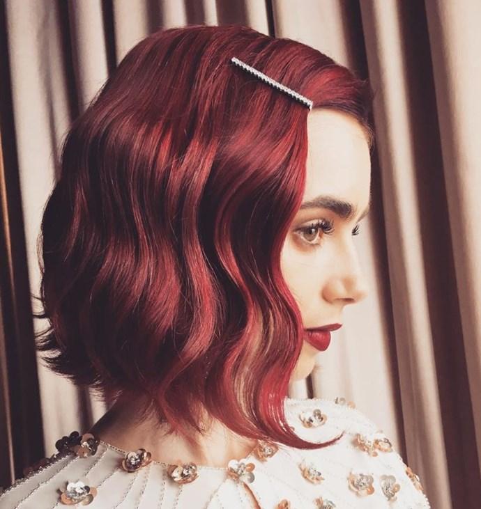 **FIRE RED** <br><br> Lily Collins <br><br> *Image: @mararoszak*