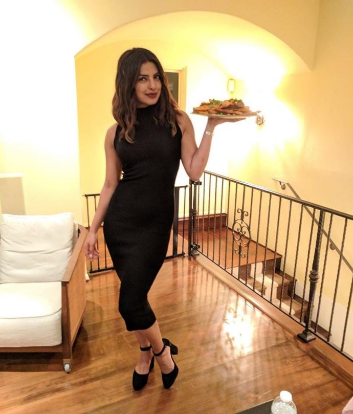 """**Diet** <br><br> Day-to-day, Chopra's diet is centred on vegetables, fruit and plenty of water, and she avoids """"oily food"""". """"My daily diet consists of regular food like chapati, vegetables, soups, salads, rice, dal and lots of fruits,"""" she told *The Times of India*. """"Also juices and water are very high on my intake list. In fact, water is a must for everyone, at least 10 glasses a day. I often overshoot that, but it does wonders to your skin."""""""