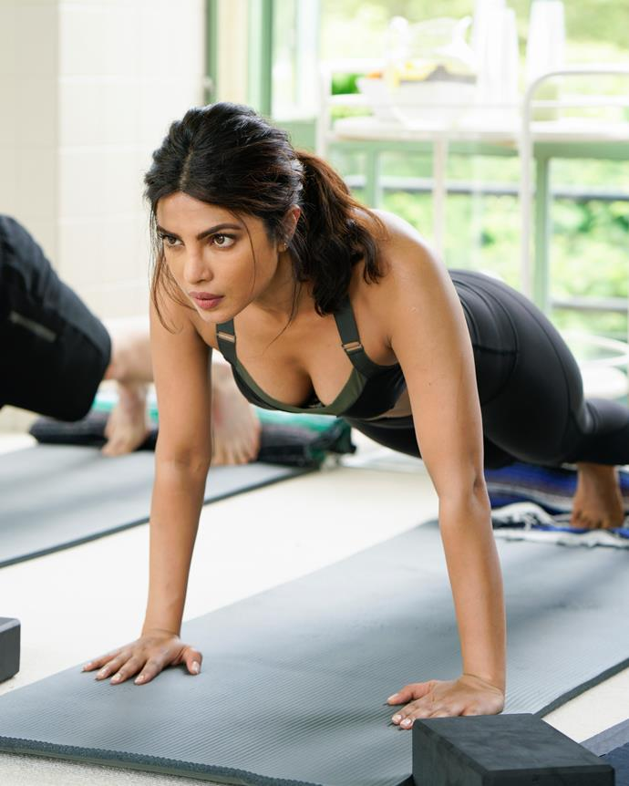 "**Exercise** <br><br> When she does work out, Chopra favours cardio (like treadmill sprints), spin classes and yoga, which she claims helps her to ""relax and refresh""."