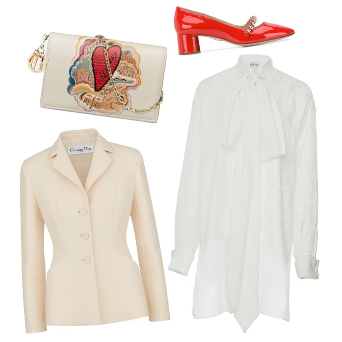 """Dress by Loewe, $2,302 at [Modesens](https://modesens.com/au/en/product/loewe-lavaliere-tunic-blouse-white-6912035/?abtest=b&utm_expid=92191193-57.b4oQWEsoTu6cV88tDjAuPg.1 target=""""_blank"""" rel=""""nofollow""""); Jacket, POA by [Dior](https://www.dior.com/en_int/products/couture-841V01A1166_X0200-wool-and-silk-bar-jacket target=""""_blank"""" rel=""""nofollow""""); Clutch, POA by [Dior](https://www.dior.com/en_int/products/couture-S0105OSDM_M941_TU-lady-dior-clutch-in-printed-calfskin target=""""_blank"""" rel=""""nofollow""""); Pumps by Miu Miu, $1,035 at [Farfetch](https://www.farfetch.com/au/shopping/women/miu-miu-embellished-mary-jane-pumps-item-13623357.aspx target=""""_blank"""" rel=""""nofollow"""")."""