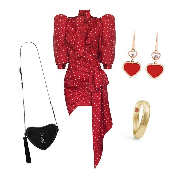 "Dress by Alexandre Vauthier, $2,954 at [NET-A-PORTER](https://www.net-a-porter.com/us/en/product/1081961/alexandre_vauthier/asymmetric-polka-dot-silk-twill-mini-dress target=""_blank"" rel=""nofollow""); Bag, $2,330 by [Saint Laurent](https://www.ysl.com/AU/SHOP-PRODUCT/WOMEN/HANDBAGS-LOVE-BAG-MONOGRAM-HEART-CROSS-BODY-BAG-IN-SMOOTH-LEATHER_COD45419860RE.HTML#DEPT=WOMEN_BAGS_VIEW_ALL target=""_blank"" rel=""nofollow""); Ring, $4,053 by [Ole Lynggaard](https://webshop.olelynggaard.com/eur250enu/rings/love-rings-ring-in-18k-yellow-gold-2905.html target=""_blank"" rel=""nofollow""); Earrings by Chopard, $4,520 at [NET-A-PORTER](https://www.net-a-porter.com/au/en/product/1106903/Chopard/happy-hearts-18-karat-rose-gold-diamond-and-red-stone-earrings target=""_blank"" rel=""nofollow"")."