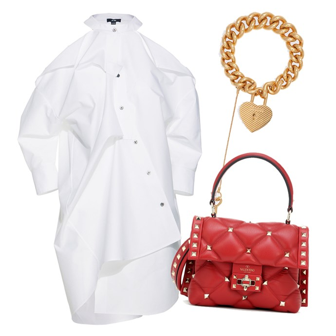 "Dress, $928 by [Ji Oh](https://shop.jiohny.com/products/unbalanced-cold-shoulder-dress target=""_blank"" rel=""nofollow""); Bracelet, $790 by [Balenciaga](https://www.balenciaga.com/us/bracelet_cod50223211aa.html target=""_blank"" rel=""nofollow""); Bag by Valentino, $2,815 at [My Theresa](https://www.mytheresa.com/en-au/valentino-valentino-garavani-candystud-mini-leather-shoulder-bag-1136739.html target=""_blank"" rel=""nofollow"")."
