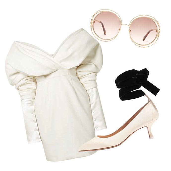 "Dress by Danielle Frankel, $9,277 at [NET-A-PORTER](https://www.net-a-porter.com/au/en/product/1066179 target=""_blank"" rel=""nofollow""); Sunglasses by Chloé, $620 at [MATCHESFASHION.COM](https://www.matchesfashion.com/au/products/1254147 target=""_blank"" rel=""nofollow""); Pumps by Attico, $535 at [NET-A-PORTER](https://www.net-a-porter.com/us/en/product/1045524/attico/bella-moire-and-velvet-pumps target=""_blank"" rel=""nofollow"")."
