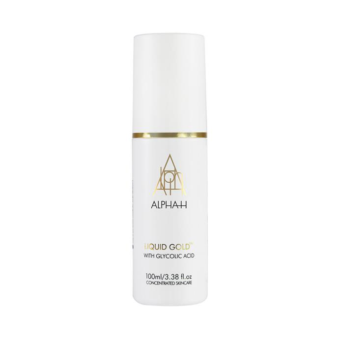"Liquid gold resurfacing treatment, $59.95 by [Alpha-H](https://alpha-h.com/product/liquid-gold/|target=""_blank""