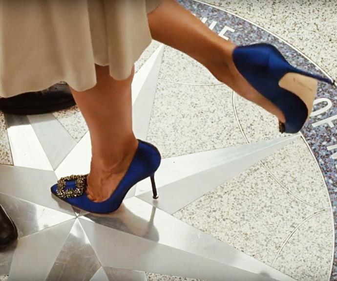 And, of course... *those* blue buckled Manolo Blahniks.