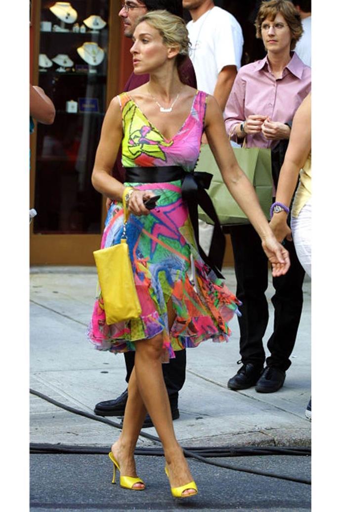 Neon yellow peep-toe d'Orsay heels.