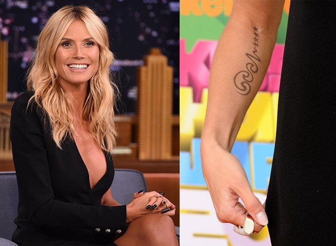 **HEIDI KLUM** <br><br> The German supermodel once had her ex-husband Seal's name tattooed on her right forearm in an abstract, swirling script, but after their split she had it removed.