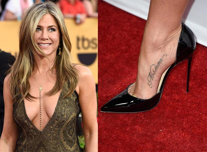 "**JENNIFER ANISTON** <br><br> Aniston has the name Norman tattooed on her foot. Doesn't ring a bell? That's because it's not the name of an ex-boyfriend, but rather the name of her late Welsh Corgie-Terrier. ""I never thought that would ever happen,"" Aniston told *ET Canada*. ""It's just my way to pay homage to him... forever."""