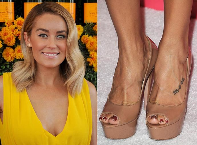 **LAUREN CONRAD** <br><br> *The Hills* alum might not seem like the type, but she has the date '13-5-22' tattooed on her ankle, and the words 'sticks and stones' on her lower back. She also had the first name initial of her ex-boyfriend, Jason Wahler, tattooed on her stomach, but she reportedly had the 'J' changed to an 'L' after their split.