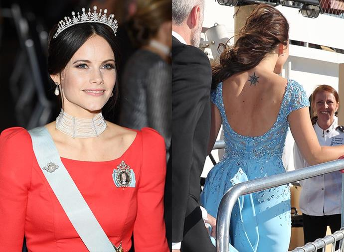 **PRINCESS SOFIA OF SWEDEN** <br><br> The Swedish royal and former reality TV star and model, who is married to Prince Carl Philip of Sweden, has a starburst on her back and a tiny tattoo on her ankle.