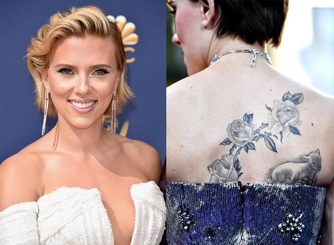 **SCARLETT JOHANSSON** <br><br> Johansson is covered in tattoos, from her first-ever ink—a brightly-coloured sunset scene on her left arm—to some of her most recent additions, including a rose stem and a lamb on her back, and rosary beads around her right wrist. She also has a tiny tattoo of interlinking circles on her ankle.