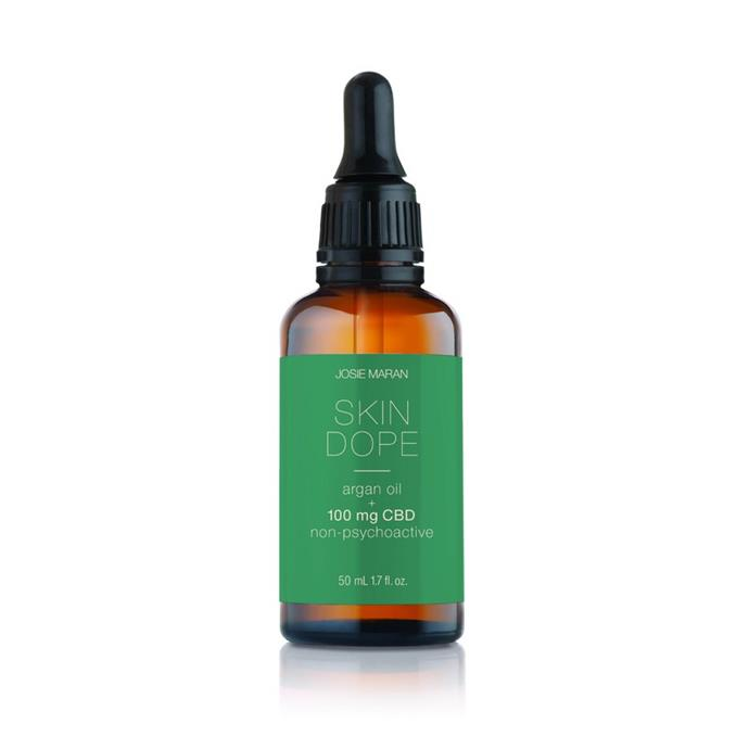 "Josie Maran Skin Dope Argan Oil + 100mg CBD Oil, $110.00 AUD, from [Skin Dope](https://skindope.com/products/best-cbd-oil-skincare|target=""_blank""