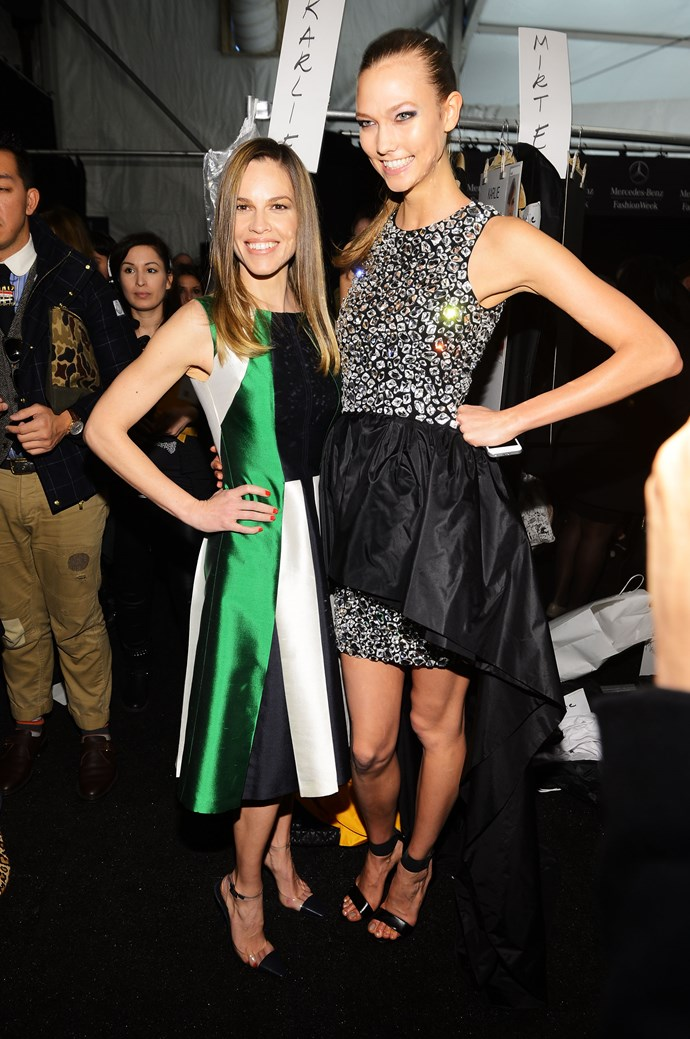 With Hilary Swank.