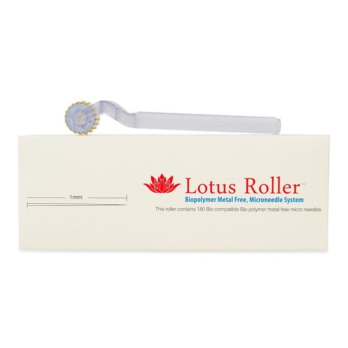 "Skin Needling Roller, $85 by [White Lotus](https://www.whitelotus.com.au/collections/skin-needling/products/skin-needling-roller-hypoallergenic-metal-free|target=""_blank""