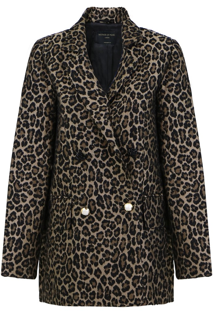 "**Buy:** Leopard Print Blazer by Mother Of Pearl, $1,165 at [Parlour X](https://www.parlourx.com/francis-tailored-jacket-print.html|target=""_blank""