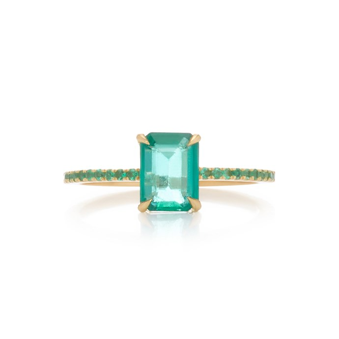 """Gold and emerald ring by Yi Collection, $3,165 at [Moda Operandi](https://www.modaoperandi.com/yi-collection-r19/18k-gold-emerald-ring#zoom