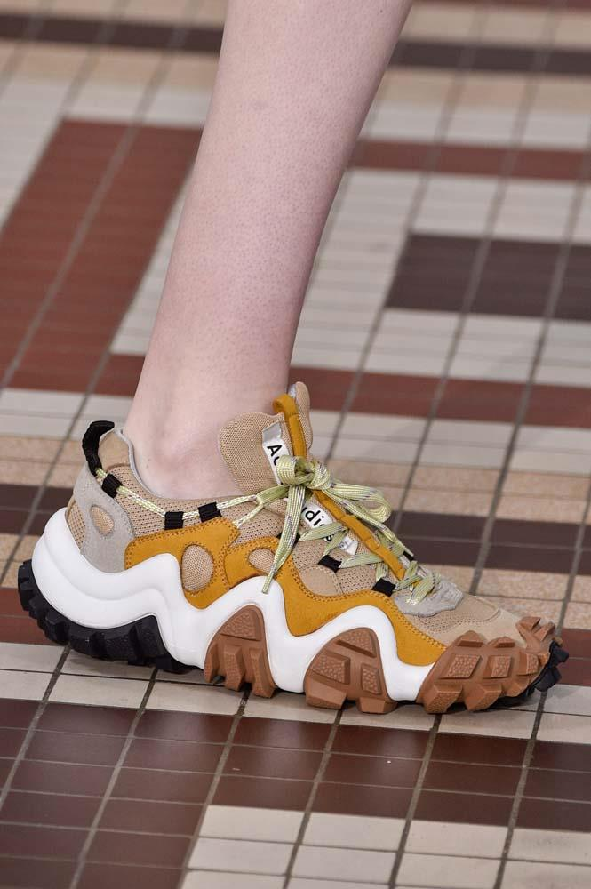 ***DAD SNEAKERS***<br><Br> Forget rainboots and Converse, the California greens will see plenty of 'dad sneakers' this month. From souped up versions by Gucci and Balenciaga, to sportier 'adventure sneakers,' these are a shoo-in.<br><br> *Pictured: Acne Studios spring/summer '19.*