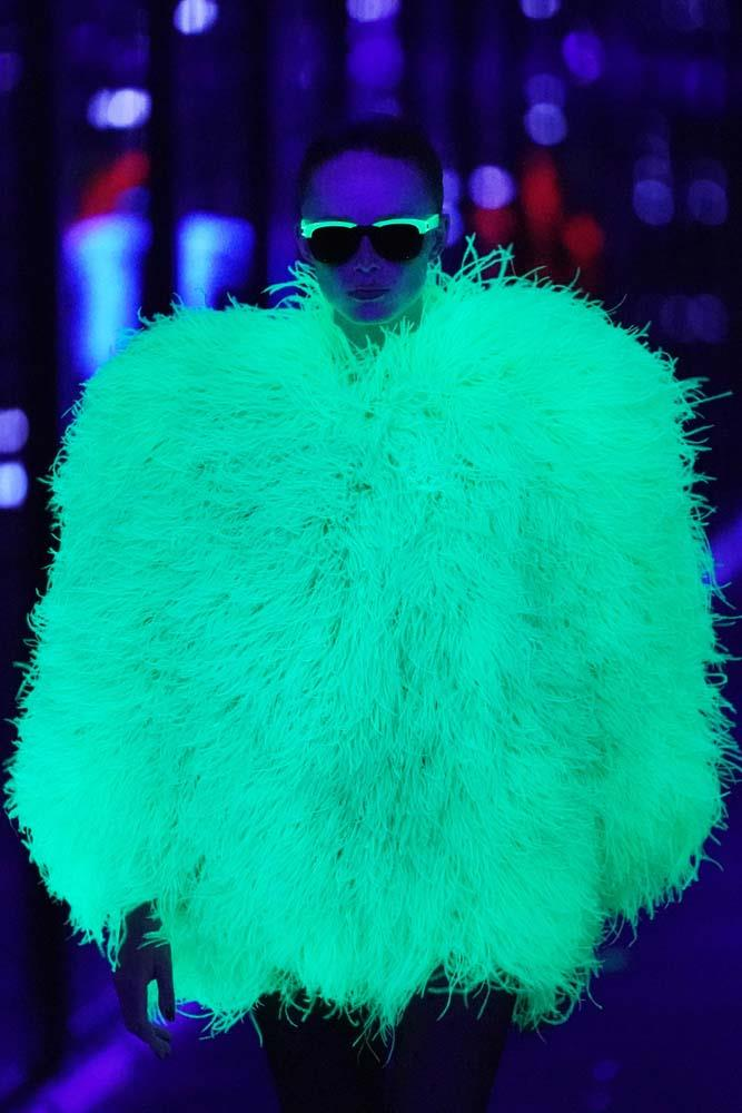 ***NEON***<br><br> Glow-in-the-dark or not, you'll be spotting some of this season's hottest trend—neon—on festival-goers.<br><br> *Pictured: Saint Laurent autumn/winter '19/'20.*