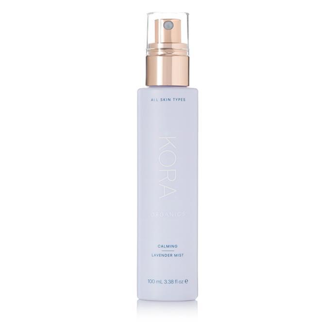 "Kora Organics Calming Lavender Mist, $40 at [NET-A-PORTER](https://www.net-a-porter.com/au/en/product/1032249/KORA_Organics/calming-lavender-mist-100ml|target=""_blank""|rel=""nofollow"")"