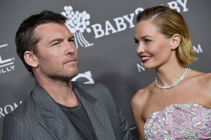 Sam and Lara Worthington at the 2018 Baby2Baby gala in Los Angeles.
