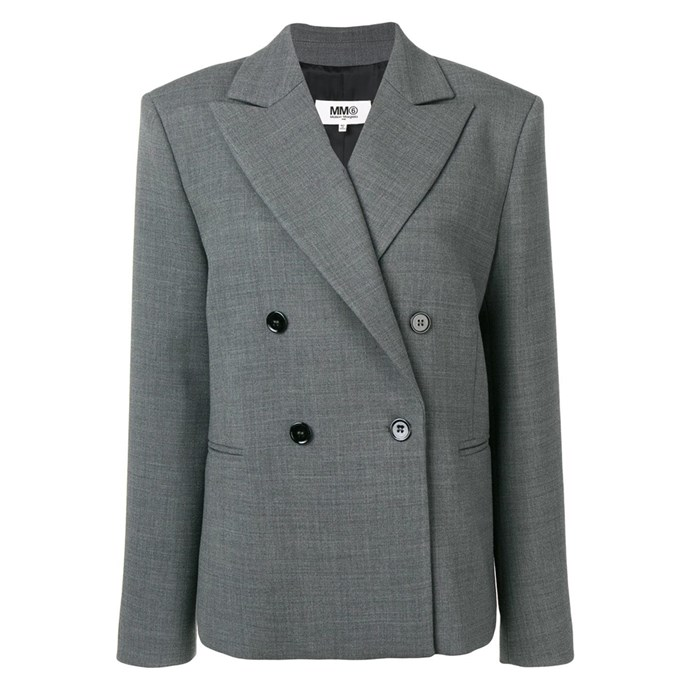 """""""My grey Maison Margiela blazer, which is good with jeans, pants, over mini dresses.. literally everything in both summer and winter."""" – Nichhia Wippell, Fashion Assistant. <br><br> Blazer by MM6 Maison Margiela, $1,264 at [Farfetch](https://www.farfetch.com/au/shopping/women/mm6-maison-margiela-boxy-fit-blazer-item-13308178.aspx