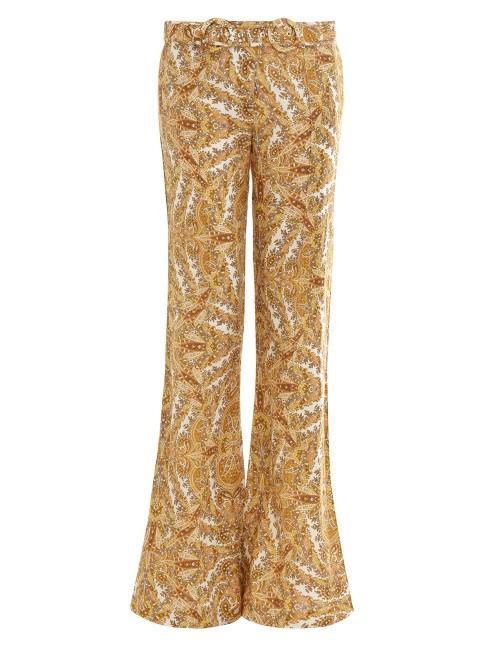 "**THE PATTERNED FLARE** <br><br> **Shop:** Zippy Golden Flare, $595, at [Zimmermann](https://www.zimmermannwear.com/zippy-golden-flare-golden-paisley.html|target=""_blank""|rel=""nofollow"")."