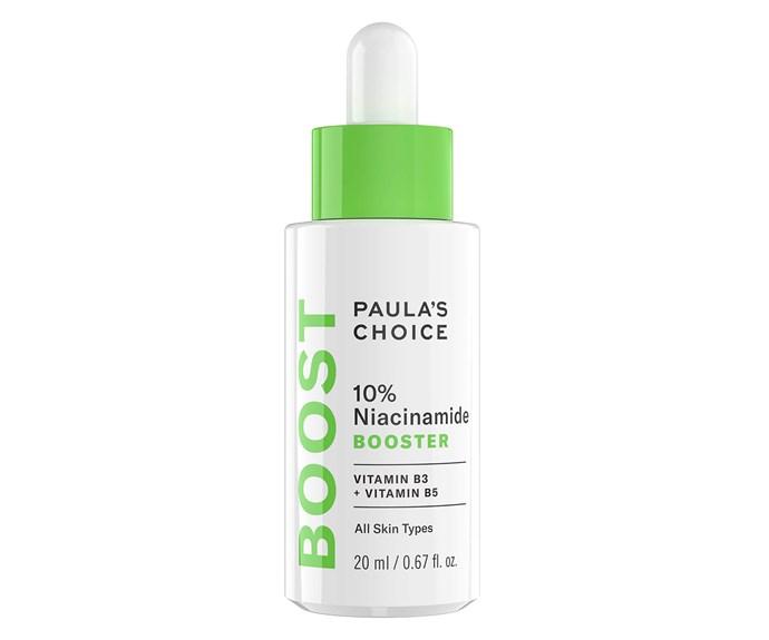 "***Vitamin B Serum by Paula's Choice, $44 from [Paula's Choice](https://www.paulaschoice.com/10pct-niacinamide-booster/798.html|target=""_blank""|rel=""nofollow"")***"