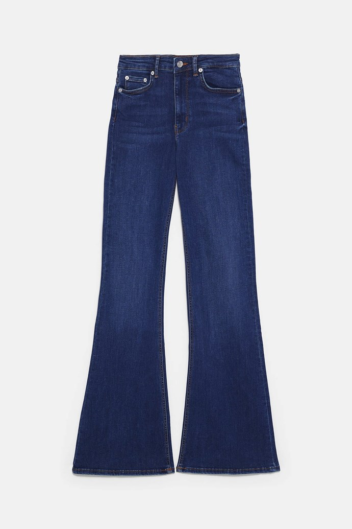 "**THE FLARED JEAN** <br><br> **Shop:** Premium Skinny Flare Jeans, $69.95, at [ZARA](https://www.zara.com/au/en/premium-skinny-flare-jeans-p07513053.html?v1=9883819&v2=1009606|target=""_blank""|rel=""nofollow"")."