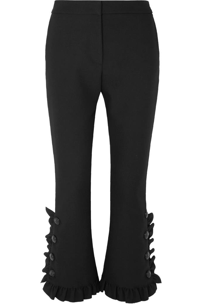 "**THE EMBELLISHED FLARE** <br><br> **Shop:** MSGM ruffled crepe slim-leg pants, $440.20, at [NET-A-PORTER](https://www.net-a-porter.com/au/en/product/1067606/MSGM/ruffled-crepe-slim-leg-pants-|target=""_blank""