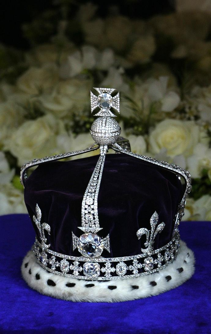 The crown atop The Queen Mother's coffin during her funeral procession.
