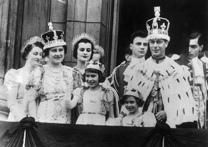 Queen Elizabeth wearing the crown after her coronation.
