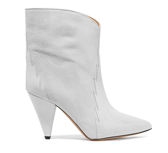 "Boots by Isabel Marant, $1,038.11 at [Net-a-Porter](https://www.net-a-porter.com/au/en/product/1099063/Isabel_Marant/leider-suede-and-lizard-effect-leather-ankle-boots|target=""_blank""