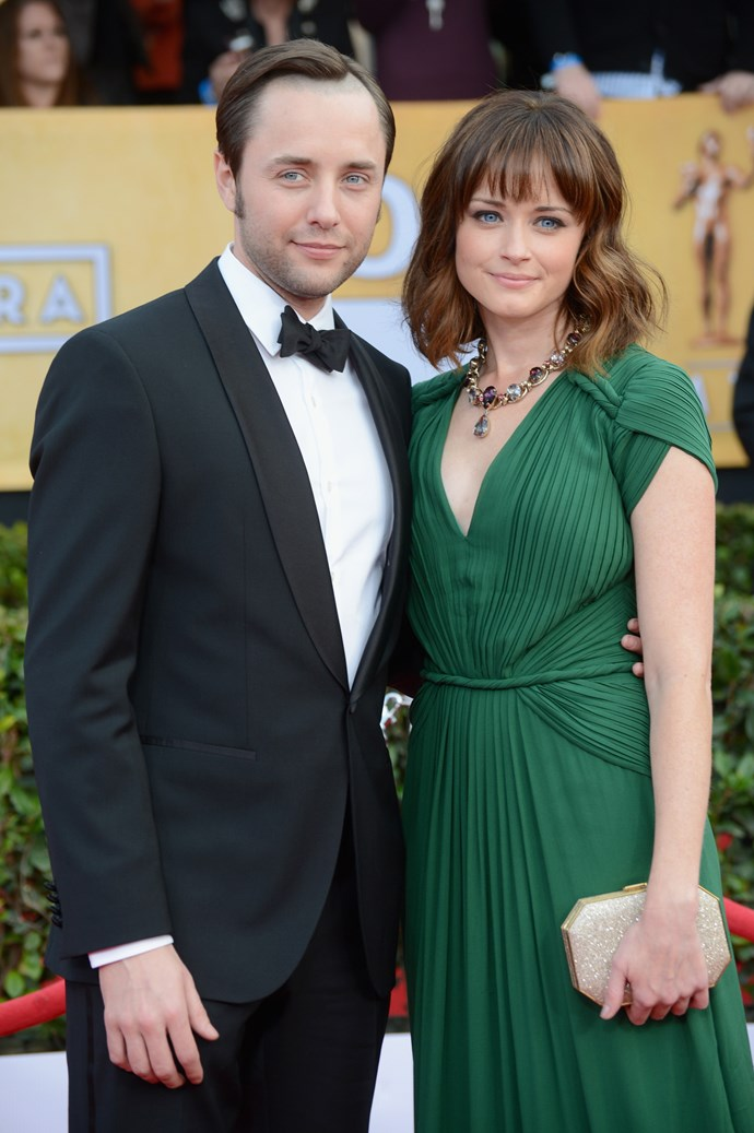 """**Alexis Bledel and Vincent Kartheiser** <br><br> The *Gilmore Girls*-turned-*Handmaid's Tale* actress and her *Mad Men* star husband married in 2014, after meeting in 2012 when Bledel was a guest star on *Mad Men*. """"We were completely professional. We never saw each other out. We never—it was nothing, it was just work,"""" Kartheiser told *Vulture*, insisting they kept things strictly professional until after filming on the show wrapped."""