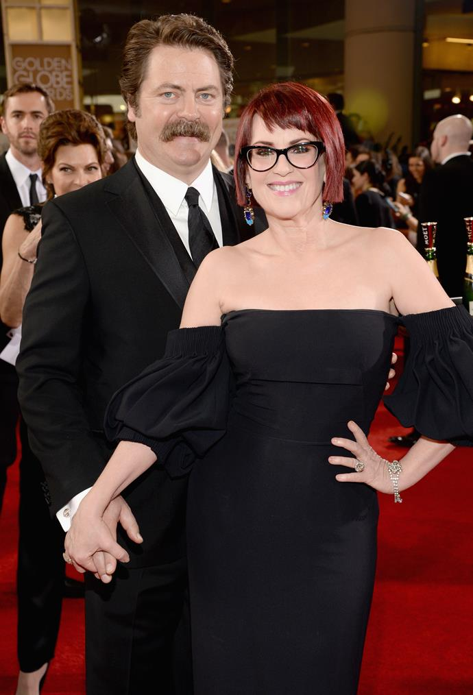 """**Nick Offerman and Megan Mullally** <br><br> He's best known as the gruff Ron Swanson from *Parks and Recreation*, and she's beloved for her role as Karen Walker on *Will & Grace*. Together, they make possibly Hollywood's funniest couple. Offerman and Mullally got married in 2003, after meeting in 2000 while working on a play together. They have no kids, with Mullally explaining: """"I never had a burning desire to have children. But then I met Nick, and I thought 'This is the only person I'd do this with.' So we tried, but I was a little long in the tooth for that sort of thing. But we didn't turn it into a soap opera."""""""