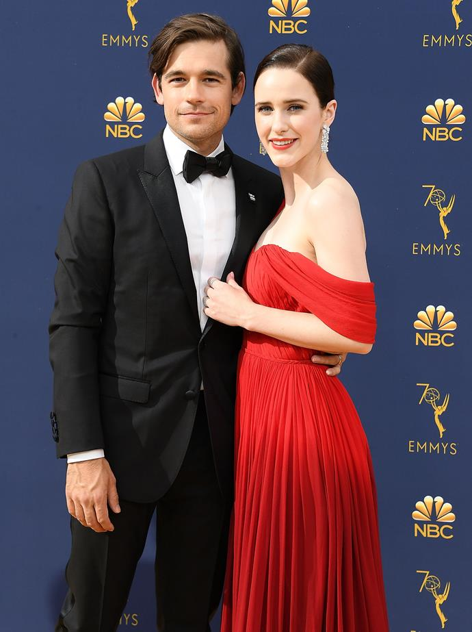 """**Rachel Brosnahan and Jason Ralph** <br><br> Brosnahan is the rising star of *The Marvellous Mrs Maisel*, while Ralph has starred in everything from *Younger* to *Gossip Girl*. The pair have been married """"for years"""", but kept it so quiet that many media outlets thought they were still just dating during the 2019 awards season. """"We've been married for years and been together for even longer,"""" Brosnahan told *People*. """"We had a good laugh when the news came out that we had just got married, like, 'Happy six-month anniversary, honey!'"""""""