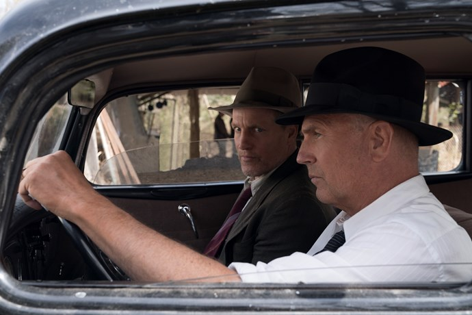 Woody Harrelson as Manny Gault and Kevin Costner as Frank Hamer.