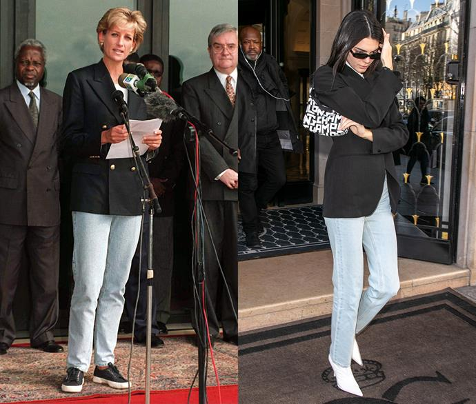 Diana, Princess of Wales, and Kendall Jenner.