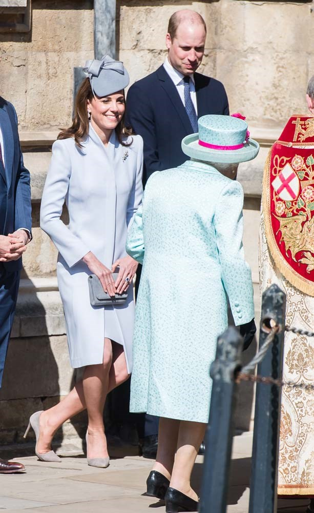 Catherine, Duchess of Cambridge, curtsying to the Queen.