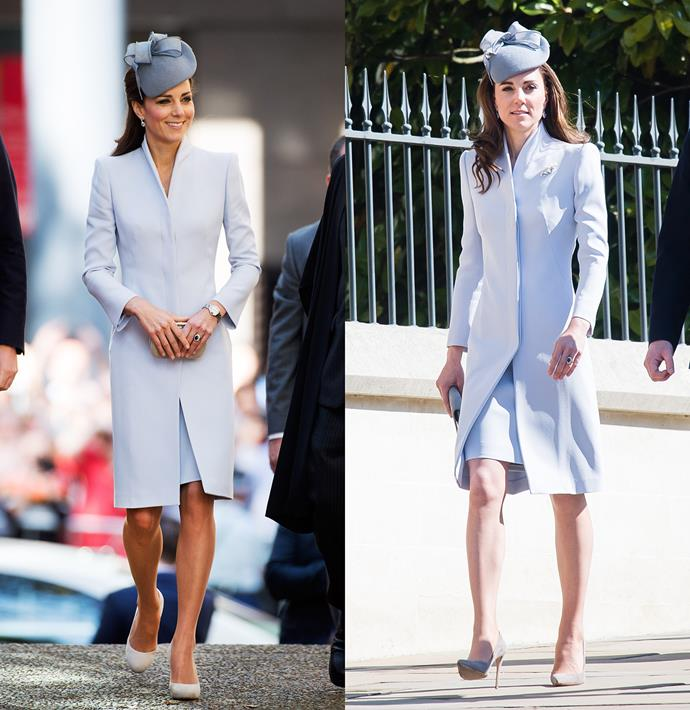 ***Grey Alexander McQueen coat-dress***<br> Kate wore this for the first time in 2014 to attend the Easter service in Sydney, and re-wore it again (almost exactly the same way, with the same Jane Taylor hat) for Easter in 2019.