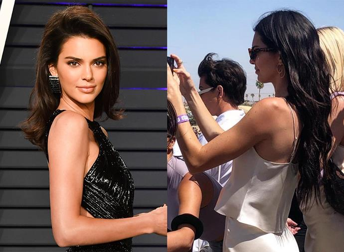 **Kendall Jenner** <br><br> The model has had neat, mid-length hair for as long as we can remember, but when she appeared at Kanye West's Sunday Service at Coachella on April 21, 2019, Jenner had long, mermaid-like extensions in.