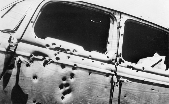 Bonnie and Clyde's car after the ambush.
