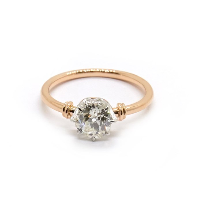 """Primrose ring in rose gold, $15,300 at [Natalie Marie Jewellery](https://www.nataliemariejewellery.com/collections/engagement-rings/products/primrose-vintage-old-european-cut-diamond-solitaire