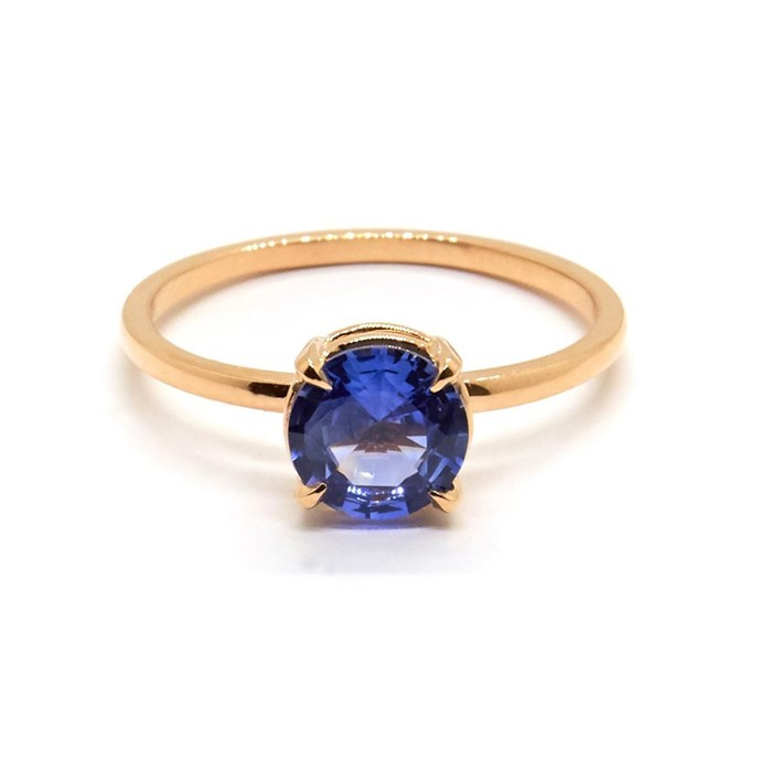"""Petite Precious ring in rose gold, $3,810 at [Natalie Marie Jewellery](https://www.nataliemariejewellery.com/collections/engagement-rings/products/petite-precious-ceylon-sapphire?variant=12265219620928
