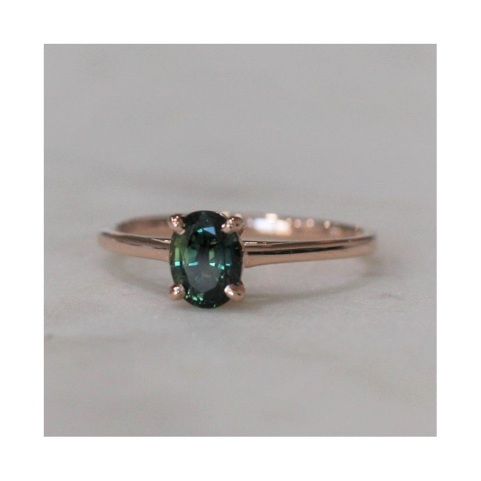 """Rose gold sapphire ring, $2,600 at [Meg Maskell](https://www.megmaskell.com.au/collections/rings/products/oval-parti-ring