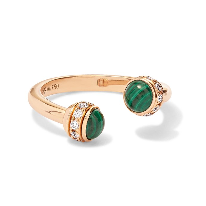 "Rose gold malachite ring by Piaget, $4,200 at [NET-A-PORTER](https://www.net-a-porter.com/au/en/product/1076606/Piaget/possession-18-karat-rose-gold-malachite-and-diamond-ring|target=""_blank""|rel=""nofollow"")."