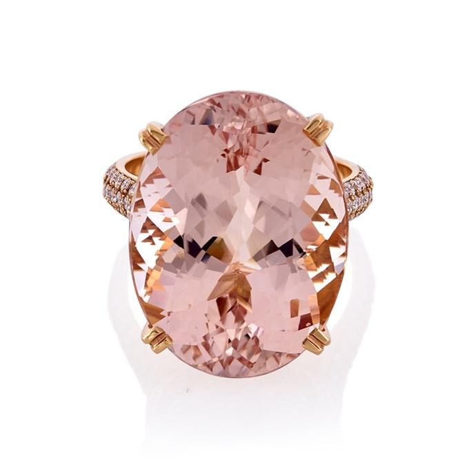 "Morganite rose gold ring, $11,300 at [Cerrone](https://www.cerrone.com.au/melbourne-jewellery/18ct-rose-gold-morganite-and-diamond-ring/|target=""_blank""|rel=""nofollow"")."