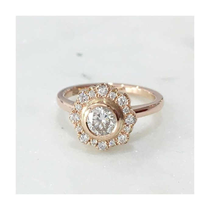 """Vintage halo ring in rose gold, $7,400 at [Meg Maskell](https://www.megmaskell.com.au/collections/rings/products/elyse-vintage-halo-ring