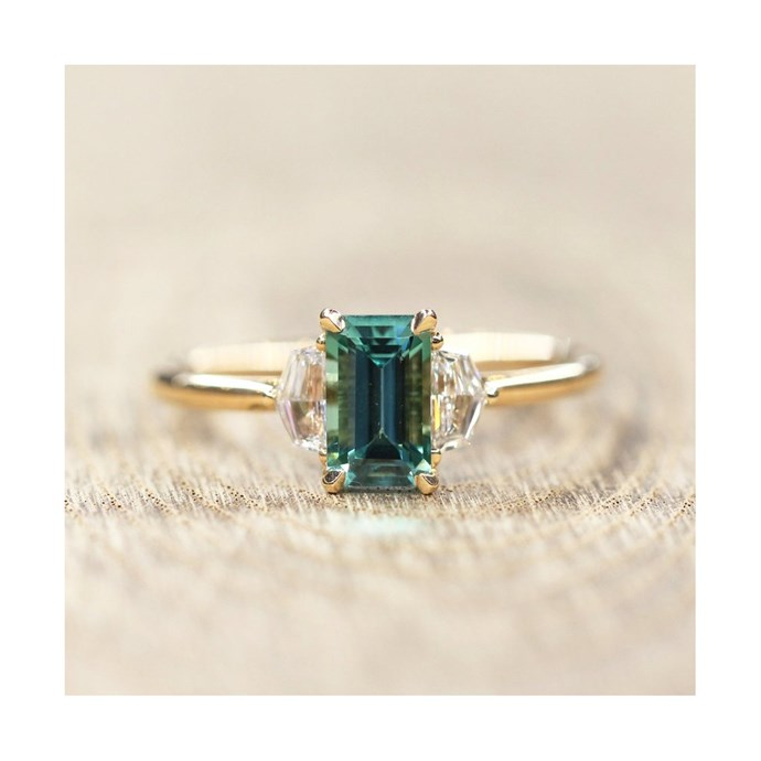 """Tourmaline rose gold ring, $4,995 at [Grew & Co.](https://shop.grewandco.com.au/collections/bespoke/products/ida