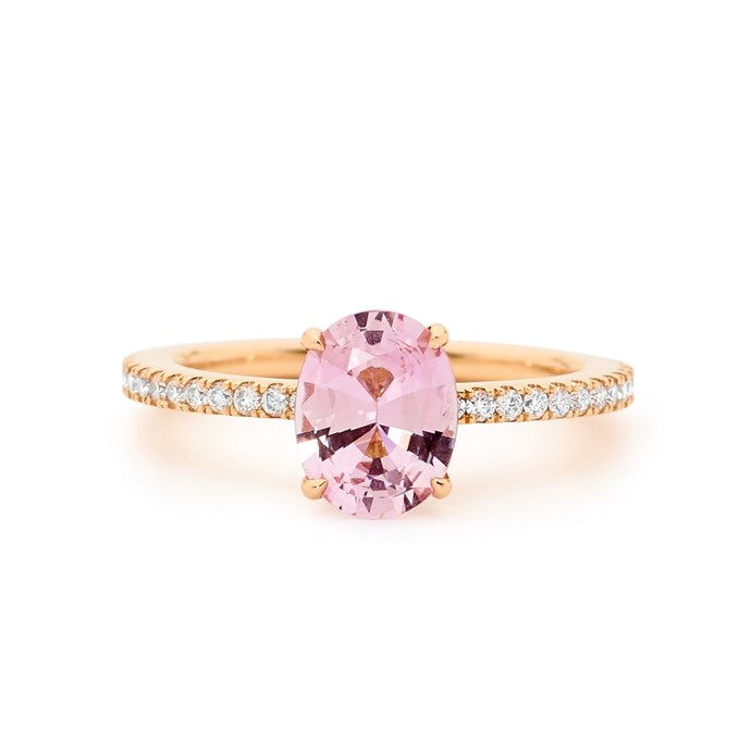 """Purple sapphire rose gold ring, POA at [Matthew Ely](http://www.matthewely.com.au/products/rose-gold-purple-sapphire-and-diamond-engagement-ring/6288/?terms=40